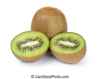 fresh ripe kiwi fruits, isolated on white background