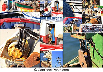 photo collage details of an old fishing trawler