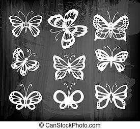 Set of 9 butterflies, decorative hand - drawn butterflies...