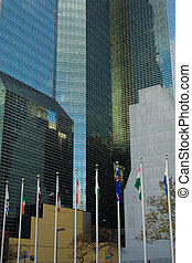 United Nations - National flags and UN Headquarters building...