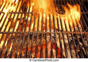 Hot BBQ Grill and Burning Charcoals with Bright Flame - Hot...