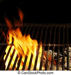 Hot BBQ Grill, Bright Flames and Burning Coals - Hot BBQ...
