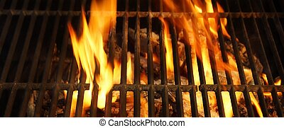 Hot BBQ Grill, Bright Flames and Burning Coals. Background...