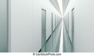 Corridor with doors.  - High quality 3d animation. Loopable