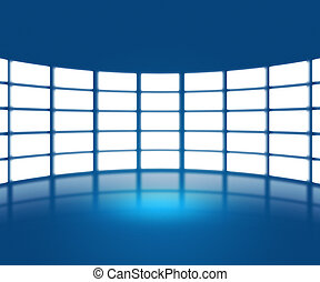 Blue TV Show Stage Backdrop