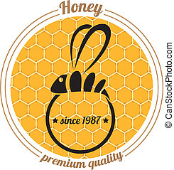 vector bee icon on honey comb background - vector abstract...