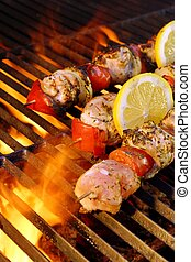 Kabob on  BBQ grill - Flaming  BBQ grill and meat kabobs