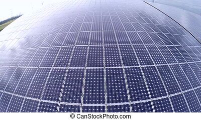 Aerial solar panel - Aerial video footage of solar panels on...