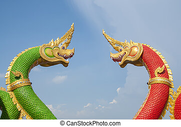 Naga Thai dragon statue.