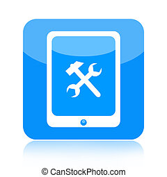 Tablet computer and tools icon - Tablet computer with...