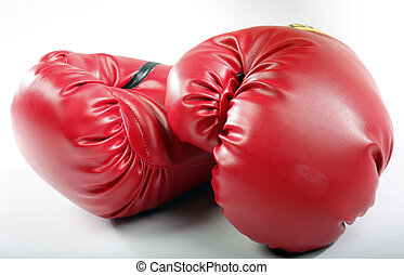 Red Boxing Gloves - Red boxing gloves on a white back ground