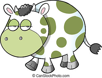 Sad Cow Vector Illustration Art