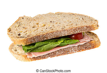 English multigrain bread ham sandwich - Isolated image of an...