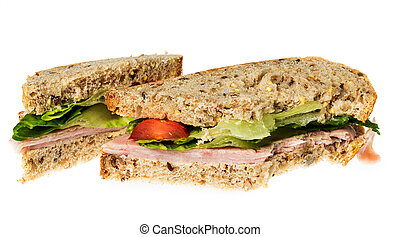 English multigrain bread ham sandwich with bite - Isolated...