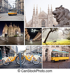 Milano streets with cathedral, vintage tram, bicycles