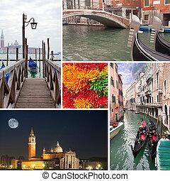 San Giorgio Maggiore island and venice gondolas collage