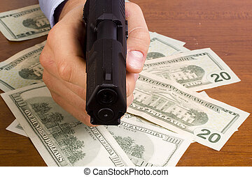 Robbery with the use of a gun.