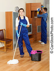Cleaning in living room