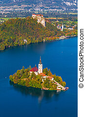 Lake Bled, Slovenia - Elevated View of Lake Bled in Slovenia...