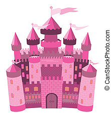 Fairy Tale ?nk magic castle, vector illustration