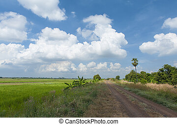 Road with blue sky and clouds.