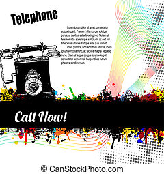 Old style Telephone poster on retro style, vector...