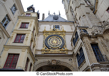 Astronomic clock at Rue du Gros-Horloge 1389 Rouen, France...