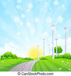 Green Landscape with Wind Power Station Trees and Road
