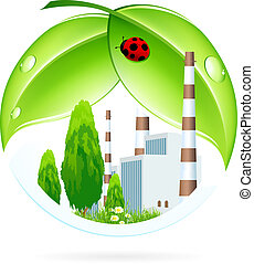 Power Plant Icon with Leaves and Ladybird