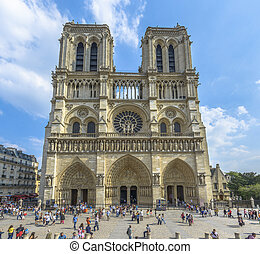 Notre Dame Cathedral in Paris in a sunny summer day