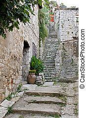 Stone stairs and old house in Skradin Croatia