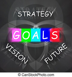 Words Displays Vision Future Strategy and Goals - Words...