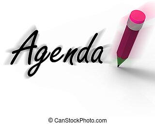 Agenda With Pencil Displays Written Agendas Schedules or...
