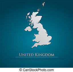 vector United Kingdom Map card paper on blue background,...