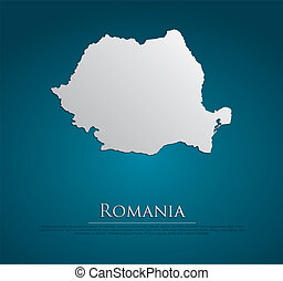 vector Romania Map card paper on blue background, high...