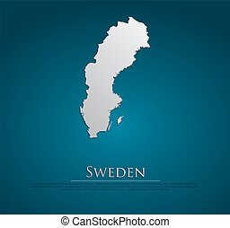 vector Sweden Map card paper on blue background, high...