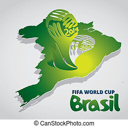 Brazil Map card paper with World cup icon - vector Brazil...