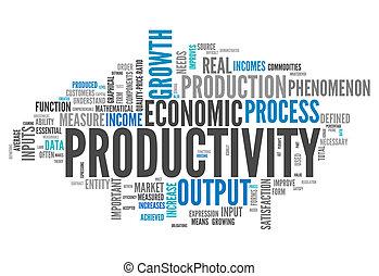palabra, nube, productividad