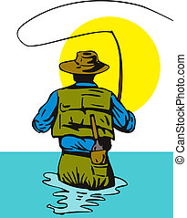 Fisherman casting rear view - Illustration of a fisherman...