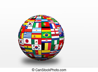 flags of finalists on world cup in Brazil 2014 - 3D sphere...
