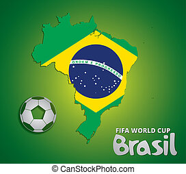 Brazil map card paper 3D natural for 2014 FIFA World Cup,...