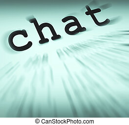 Chat Definition Displays Online Communication Or Text...