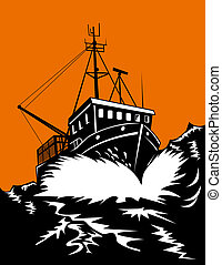 Fishing boat in storm - Illustration of a fishing boat in a...