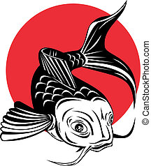 Koi carp front view - Illustration of a koi carp front view...