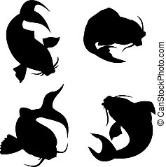 Four koi carp silhouete - Illustration of four koi carp...