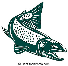 Green trout diving down - Illustration of a green trout...