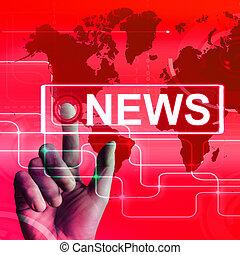 News Map Displays Worldwide Newspaper or Media Information