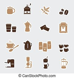 coffee stickers eps10