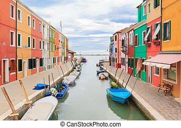 Burano city view - Famous view of the colorful houses next...
