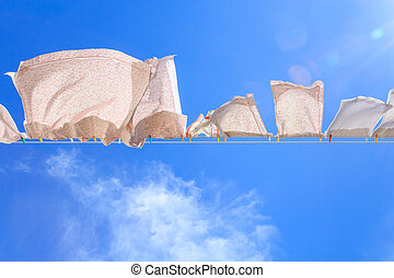 Pieces of laundry on a washing line